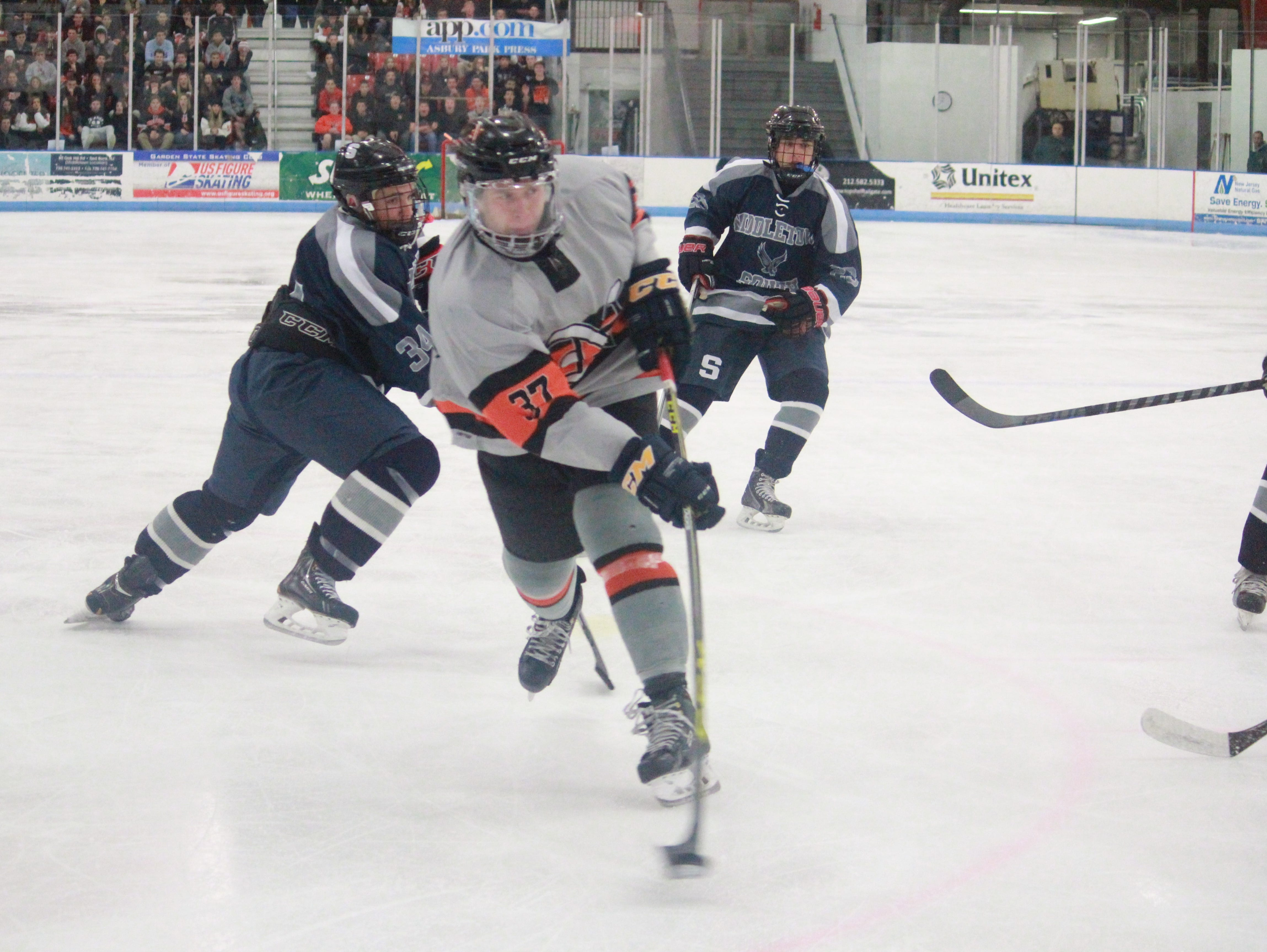 Bobby Hampton whips a wrist shot to the back of the net in the Lions 4-3 win over the Eagles.