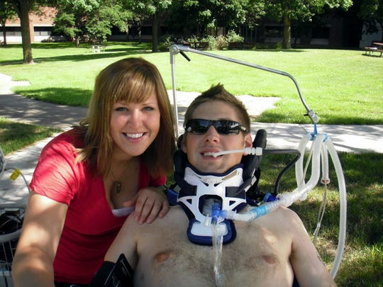 Emerald Ralston and her brother Ian Ralston, both Waterloo natives and soldiers, during the time following his war injury in Iraq in 2010.