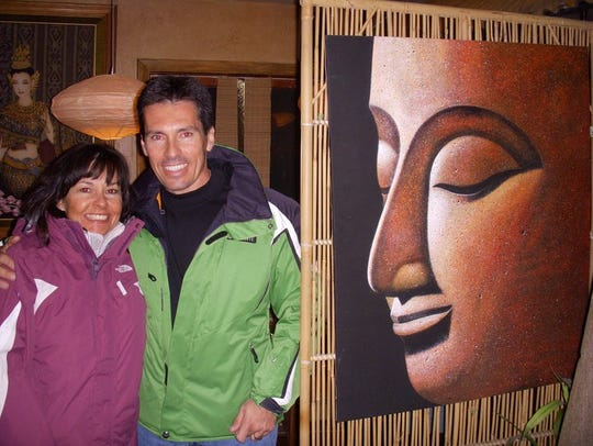 Jill Murphy Long with her brother after skiing Telluride,