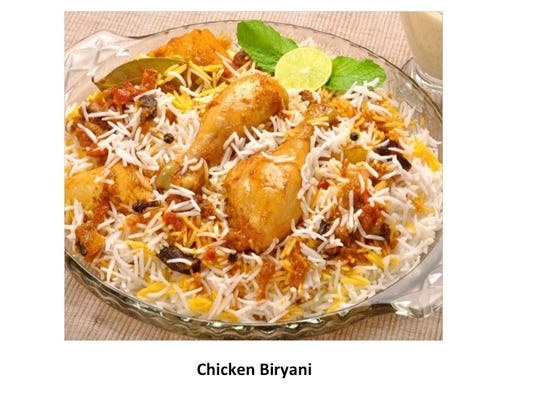 Chicken Biryani, an Indian chicken and rice dish, will
