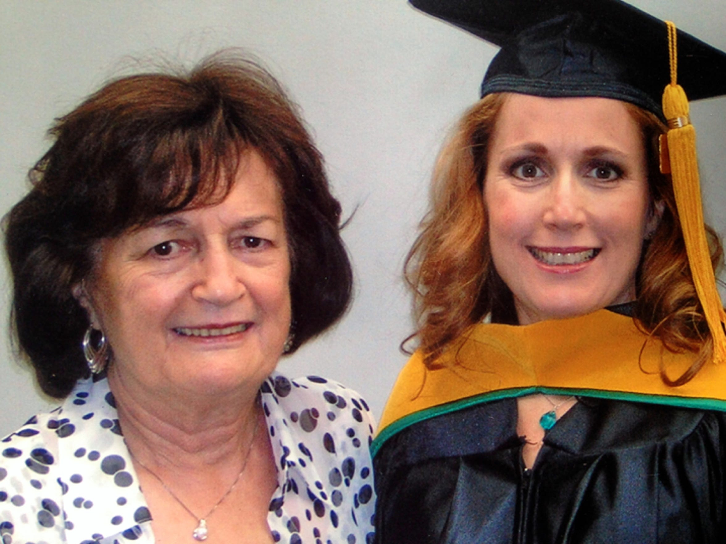 Teresa and her mom celebrating graduation