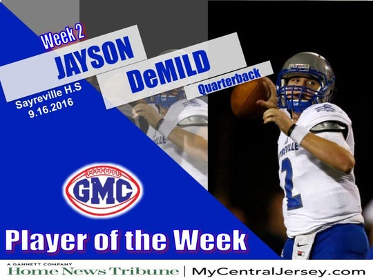 Sayreville's Jayson DeMild is the HNT GMC Football Player of the Week.