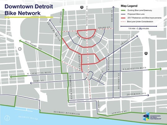 This rendering shows the Downtown Mobility Vision of Bike share.  Bike share is a short-term bicycle rental available at a network of unattended locations.  The Downtown Detroit Partnership is committed to creating a more walkable, bikable, transit friendly Downtown that supports economic growth and increases access for all.