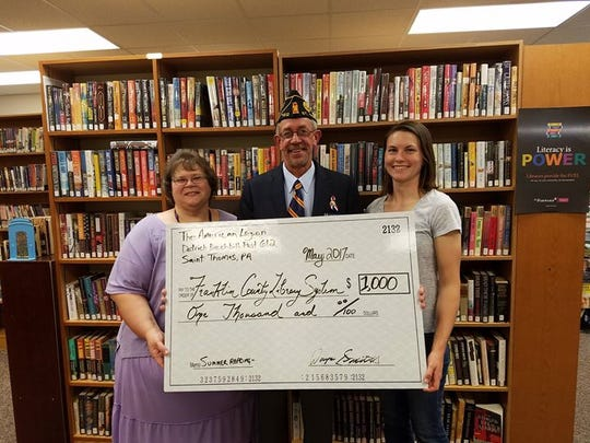 The St. Thomas American Legion donated $1,000 to the Franklin County Library System.