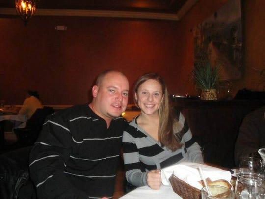 Danny Listmeier, left, and his cousin Erin Saba dining