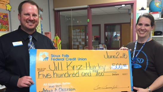 "Terry Redlin Elementary School teacher Jill Kriz-Hurley was one of three winners of the ""Adopt-A-Classroom"" grant from Sioux Falls Federal Credit Union."