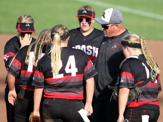 Stevens Point Area Senior High softball coach Tom Drohner,