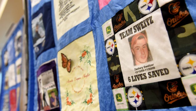 A panel of Zachary Sweitzer, who was killed by a DUI driver in 2008 is part  of the Threads of Love Memorial Quilt for organ donation. Wellspan hosted a formal dedication of the quilt on Tuesday, where they recognized multiple donors and recipients.