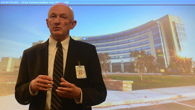 West Tennessee Healthcare President Bobby Arnold addresses those gathered during the annual board of trustees' City and County Appreciation Dinner in the Medical Founders Room at Jackson-Madison County General Hospital on Thursday evening.