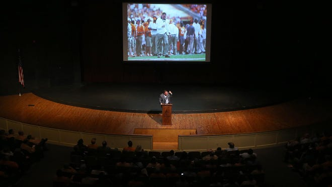University of Tennessee head football coach Butch Jones speaks during Freed-Hardeman University's Sports Advisory Council Benefit at FHU's Loyd Auditorium on Friday in Henderson.