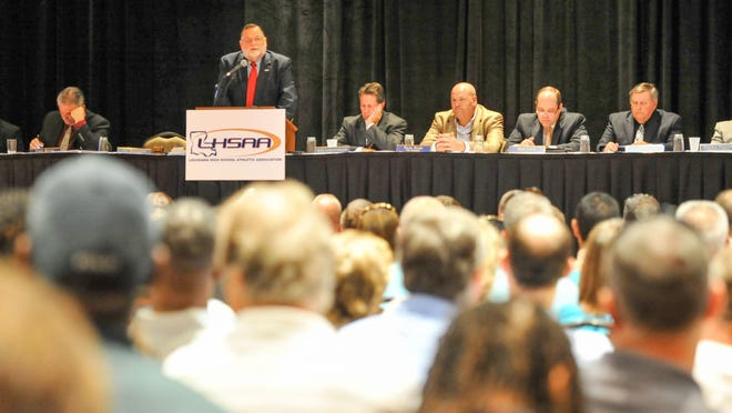 Principals and athletic directors from across the state gather in Baton Rouge for the LHSAA meeting Wednesday.