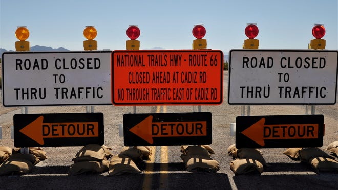 Always read the small print before obeying road closure signs in the Mojave Desert.