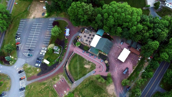An aerial shot of Barley Creek Brewing Company in Tannersville.