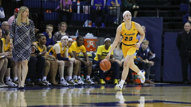 First-year Marquette coach Megan Duffy, far left, played Jordan King (23) at point guard a lot as a freshman and the Hononegah grad finished eighth in the Big East in assists.