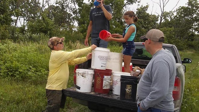 Members of the Leavenworth chapter of Ducks Unlimited recently planted duck feed at the Perry Wildlife Area in Jefferson County.