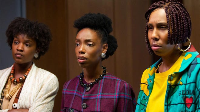 "Yaani King Mondschein, Elle Lorraine, and Lena Waithe star in ""Bad Hair."""