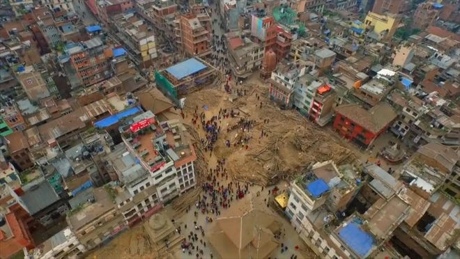 Video taken from a drone Saturday shows devastation in the Nepalese capital Kathmandu.