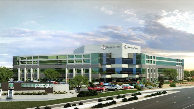 Chicago-based bank Northern Trust is expected to occupy about 450,000 square feet in three new buildings on Tempe's Discovery Business Campus near the northwestern corner of Elliot Road and Loop 101, with the first building to be ready by December.