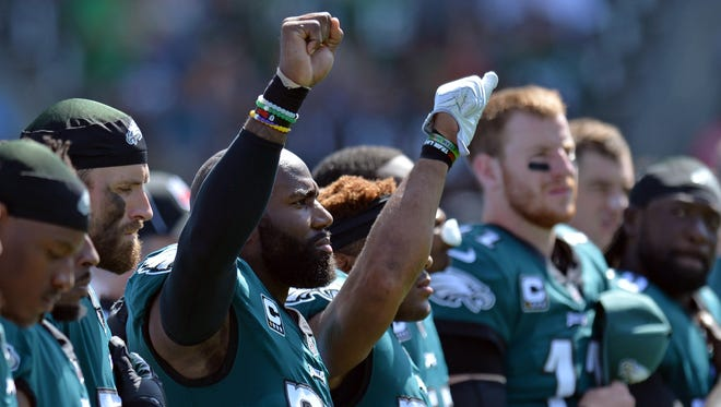 Philadelphia Eagles strong safety Malcolm Jenkins says he won't be demonstrating any more.