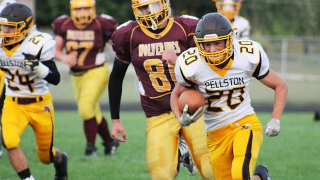 Running back David Jamroz (20) will be a key returning player for the Pellston varsity football team this season. After finishing 8-2 and making the playoffs in 2019, the Hornets want to accomplish even more this fall. Jamroz is back for the Hornets as a senior.