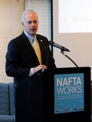 Senator Ron Johnson stresses the importance of NAFTA on Dec. 15, 2017, in Milwaukee.