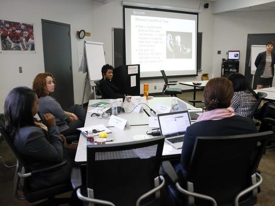 Women attend a leadership class at Rutgers University.