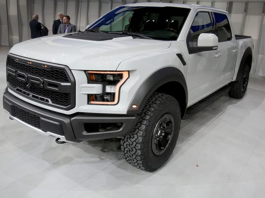 The 2017 Ford F-150 Raptor after it was unveiling during the 2016 North American International Auto Show at Joe Louis Arena in downtown Detroit on Monday, Jan. 11, 2016. Eric Seals/Detroit Free Press