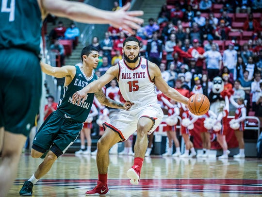 Ball State's Franko House moves the ball against Eastern