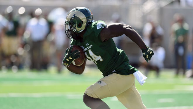 Cornerback Anthony Hawkins, shown running an interception out of the end zone during last year's season-opener against Oregon State, intercepted two passes in the end zone Sunday during CSU's first spring scrimmage.