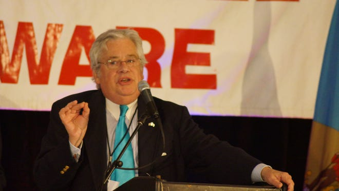 Auditor of Accounts R. Thomas Wagner addresses the Delaware GOP convention in Rehoboth Beach on April 30,  2016.