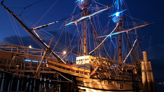Mayflower II will be illuminated for Plymouth's 400th anniversary each evening now through November.