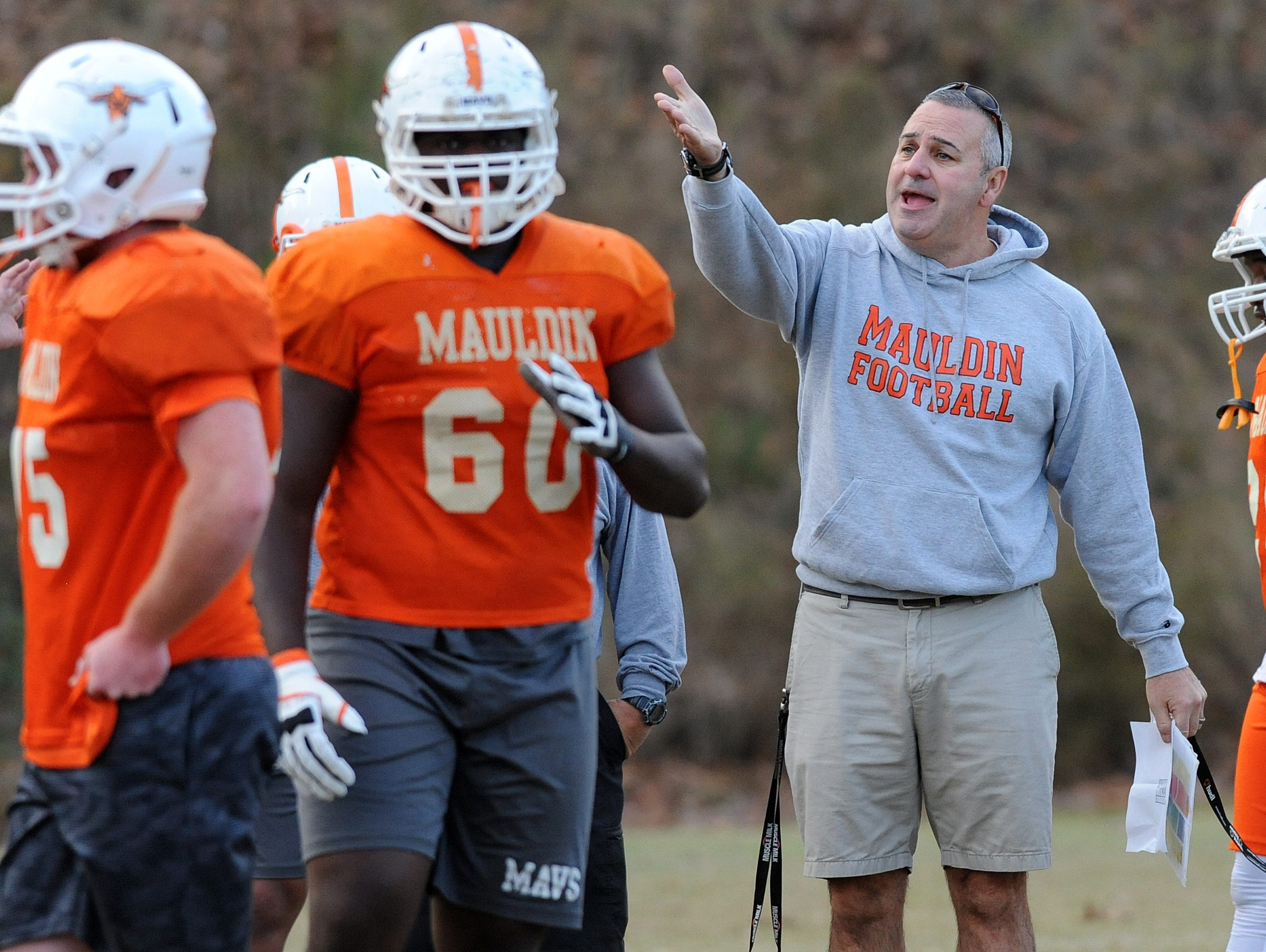 Mauldin head coach Lee Taylor coaches his team during the teams practice Monday, November 16, 2015. Mauldin will play Hillcrest in the 1st round of the AAAA playoffs Friday at Hillcrest.