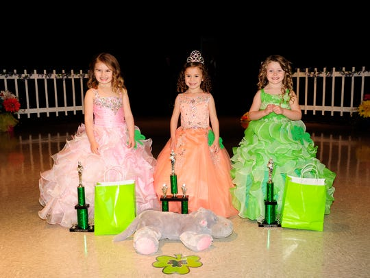 The 4-year-old winners are, from left, Benelli Petrone, first runner-up and People's Choice winner; Camille Jatropulus, Little Miss; and Shelby Monck, second runner-up.