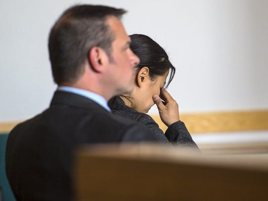 Former Burlington police officer Leanne Werner appears in Vermont Superior Court in St. Albans on Tuesday, May 17, 2016, as the court considers a motion to dismiss charges against her.  She is accused of driving while intoxicated and crossing into oncoming traffic, killing 74-year-old Omer Martin in July 2015.