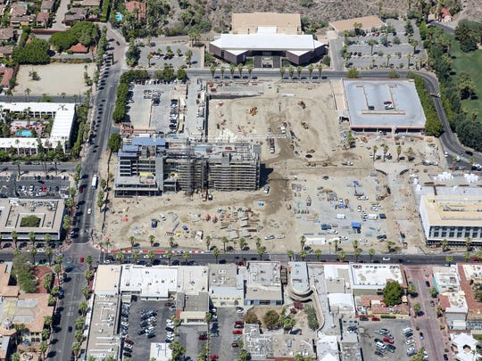 The downtown Palm Springs redevelopment project as seen from the air, August 18, 2016.