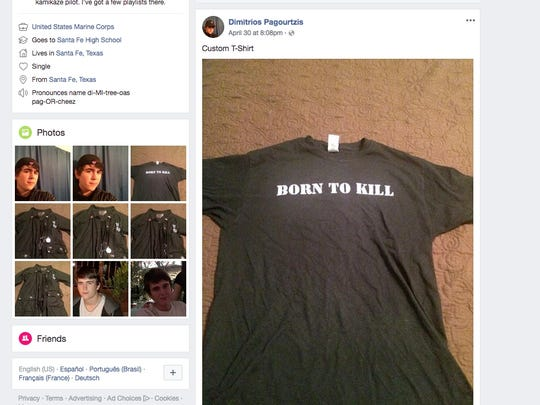 "A t-shirt with the words ""Born To Kill"" is pictured in a screenshot from the Facebook social media account of Dimitrios Pagourtzis, who is suspected in the shooting at Santa Fe High School in Santa Fe, Texas."