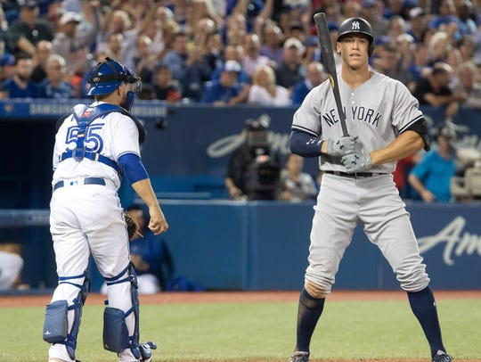 Aaron Judge went 0-for-3 Tuesday night with two strikeouts