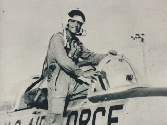 The late Robert Cheveres climbs into the cockpit shortly