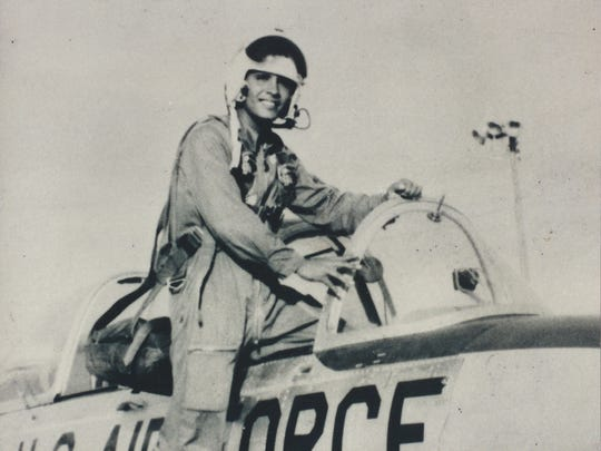 The late Robert Cheveres climbs into the cockpit shortly after he earned his wings at age 22 in the early 1960s. The Oxnard native is believed to be the only Air Force fighter pilot the La Colonia neighborhood has produced.