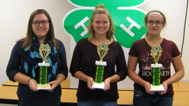 From left: Madeline Thorpe, 4-H Friends Club secretary; Amber Hershey, Saddle Up 4-H Club president, and Hayleigh Kapp, Horse Happy 4-H Club treasurer were honored with county 4-H club officer awards.