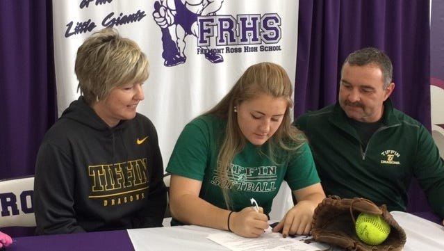 Fremont Ross senior Chloe Swaisgood will continue her softfall career at Tiffin University. She is joined by her mother, Jill, and father, Stacy.