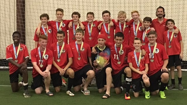 The Cyclones, a member of the Soaring Capital Soccer Club, posted a 4-0 record and won the under-15 boys travel division at the Lakefront Classic in Webster on June 17 and 18. Front row: Didi Molingou, Tony Butler, Noah Bange, Ian Aepelbacher, Connor McCarthy, Conrad Becker, Owen Thorpe, Jeg Randall. Back row: Riley Schwab, Kyle Loeber, Tommy Dale, Luke Murray, Patrick Finnerty, Alex Rowe, Carter McCreary, Nick Mucci, coach Mark Mucci and Joey Mucci.