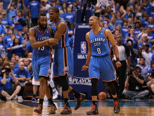more photos 27a86 a6b92 Durant remembers the 'fun times' with Westbrook and Harden ...