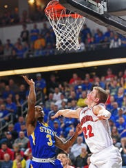 Chris Howell (left) goes up for a shot against USD in last year's Summit League tournament.