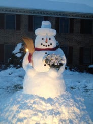 Back in 2014, the Zimmerman family won the West Manchester Township Snow Sculpture Contest with this giant snowman sculpture. With an inch of snow, at best, expected to fall overnight into Christmas, there likely won't be much snow sculpting going on. But we could see a white Christmas.