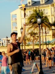 A street performer at Mallory Square in Key West.