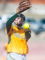 C.M. Russell southpaw Madi Moore pitches during the first game against Bozeman at the Multi-Sports Complex Saturday.