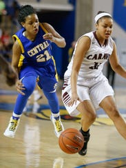 Sussex Central's Jasmine Hudson tries to steal the