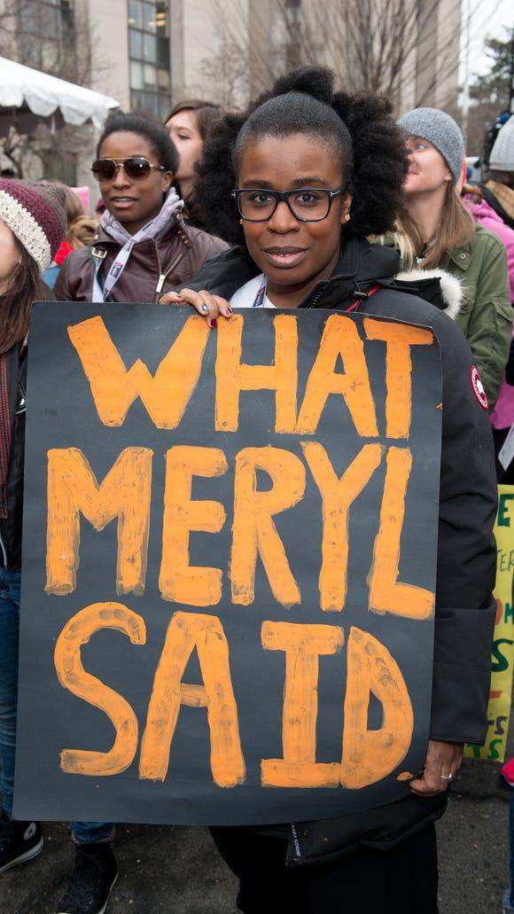Uzo Aduba attends the Women's March on Washington in