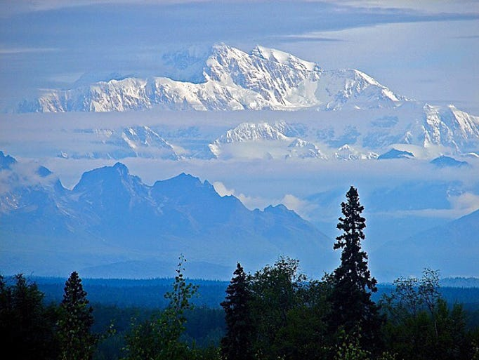 A long distance shot of Mount McKinley at midnight